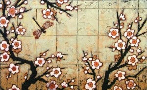 plum blossom dragonfly painting